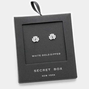 White Gold Dipped Crystal Peacock Stud Earrings With Secret Box