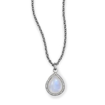 Midnight Collection Pear Drop Necklace With Gray Diamonds