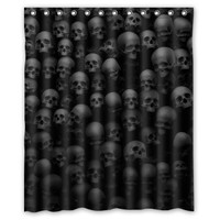 Skulls Black Shadowland Shower Curtain