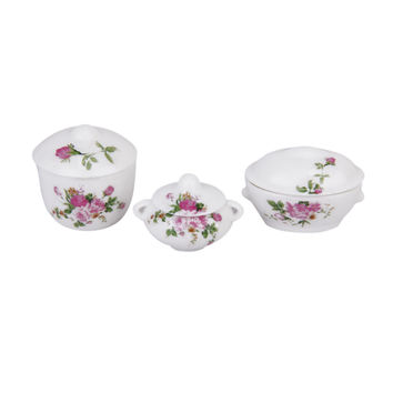 New 1/12 Dollhouse Miniature 3pcs Doll House Kitchen Casserole Pot Bowl Lid with Floral Pattern Gift 1/12 Dollhouse Decoration