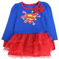 Baby Girl SUPERGIRL Sparkly Tutu Dresses With Cape, Toddler Superhero Costume