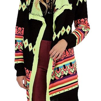 Neon Multi Colored Long Sleeve Open Front Long Cardigan Sweater