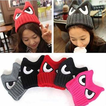 Winter Warm Beanies Women Devil Horns Big Eye Embroidery Hat Crochet Braided Elastic Knitted Wool Hat Warm Women Touca Feminina