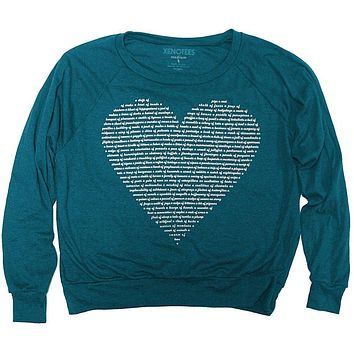 Womens Animal Heart Pullover - Teal