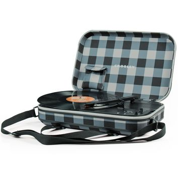 Crosley Messenger - Gray and Black Checkerboard - Shoulder Bag Turntable
