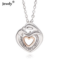 Mom And Baby Pendant & Necklace Mother's Day Gift Mother Mum Son Daughter Child Crystal Heart Pendant Necklace For Women Jewelry