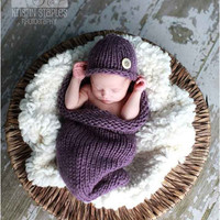 Baby Cocoon and Hat set in Dusty Purple Other by LittleKnitLovey