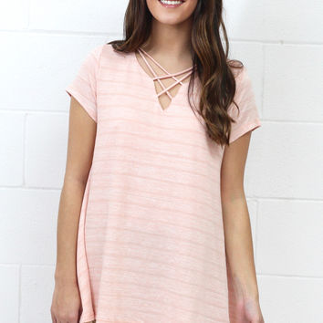Subtle Stripes + Lace Trim Strappy Neckline Top {Blush} EXTENDED SIZES