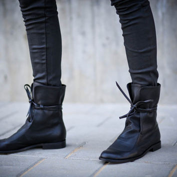 25% Christmas Sale, Mateo, Leather Boots Women, Black Boots, Lace Boots, Wrinkle Boots, Soft Boots