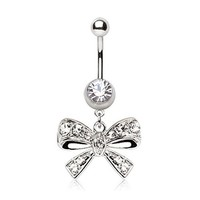 Fancy Clear Bow Tie CZ Belly Navel Ring Gem Paved Button Piercing Jewelry