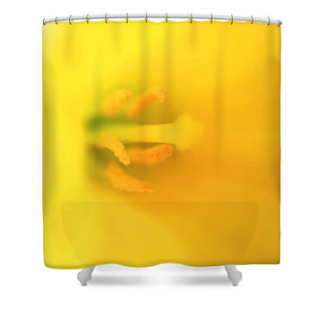 Yellow shower curtain, yellow bathroom decor, floral shower curtain, daffodil shower curtain, floral bathroom decor, bright yellow, flower