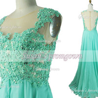 2014 Prom Dress,Straps Lace Applique Beads Crystal Green Prom Dresses,Evening Dress,Evening Gowns,Wedding Dresses,Formal Dress