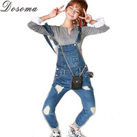 Spring/Autumn 2016 Fashion Plus size Korean Womens Jumpsuit Denim Overalls Casual Pockets Skinny Cute Long Pants Jeans Vintage