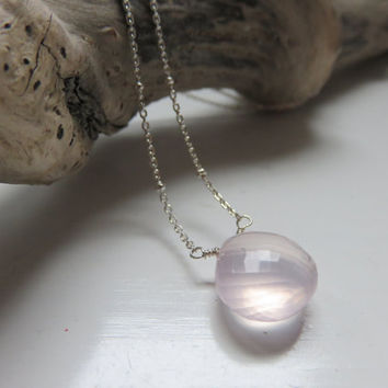 Floating Rose Quartz Sterling Silver Necklace ... Wedding ~ Bridal