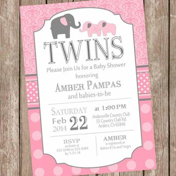 Elephant Twin Girl Baby Shower Invitation, twin girl, girl twins, pink, gray, damask baby shower invitation, polka dots, baby girl invite