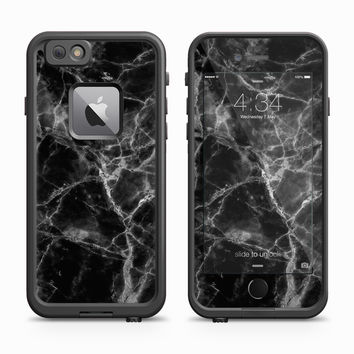 Black Marble Close Up With White Etch Skin for the Apple iPhone LifeProof Fre Case