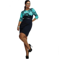 Floral Print Three Quarter Plus Size Dress