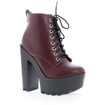 Gru Wine Pu by Soda, Dark PU Lace Up Lug Sole Platform High Chunky Block Heel Ankle Booties