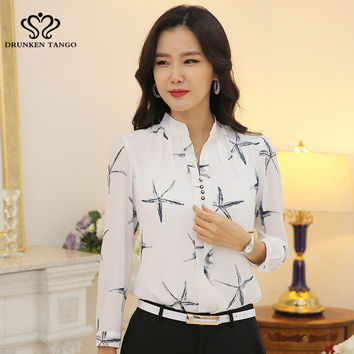 2016 Spring Star Printing Long Sleeve Blouse Women Turn Down Collar Chiffon Shirts White Ang Black Big Size Women Clothes