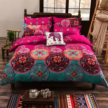 Bohemian Style Floral Printing Twin/Queen/King Size Bedding Set 4pcs Comforter Duvet Cover Set Bed Linen Bedspread Pillowcase