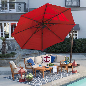 Rotating 13-Ft Offset Patio Umbrella with Tilt Red Canopy & Base