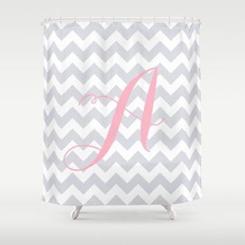 Monogrammed Gray Shower Curtain for Kids, Pastel Cute Girls Bathroom Decor, Monogram Shower Curtain Gray + White, Grey + White Chevron Decor