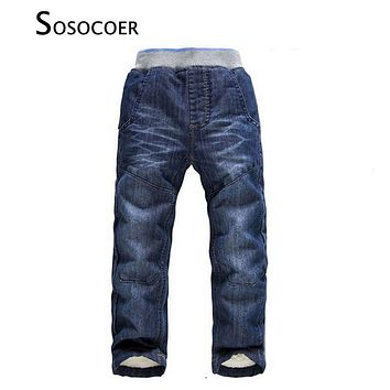 SOSOCOER Boys Jeans Kids Clothes Winter Thick Warm Boy Cowboy Pants High Quality Girls Trousers Fashion Casual Children Costume
