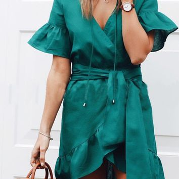 Green Irregular Sashes Ruffle Lace-up High Waisted Deep V-neck Cute Mini Dress