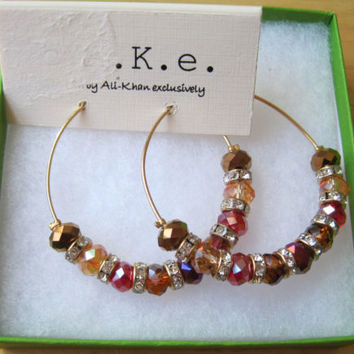 c.A.K.e by Ali Khan~Gold Red Bronze Pave~Faceted Glass Bead~Hoop Earrings~$22~2""