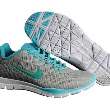 0bcdfecaf66f Gray Blue Mint Women s Nike Free TR FIT 3 Training Shoes