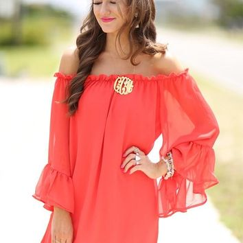Red Irregular Ruffle Tiered Off Shoulder Long Sleeve Comfy Flowy Mini Dress