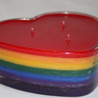 Rainbow Heart Candle- 3 Wicked Candle - Scented in Skittles