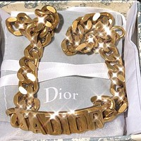 Dior Fashion new letter chain bracelet women accessory Golden