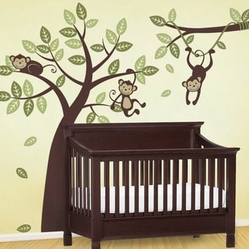 Tree and Branch Vine with Monkeys - Kids Vinyl Wall Sticker Decal Set
