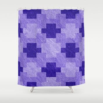 Blue Blocks Pixel Pattern Shower Curtain by Likelikes | Society6
