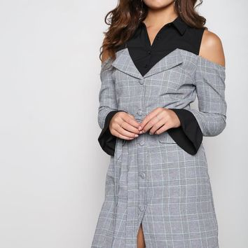 Black Colorblock Pinstripe Mini Dress