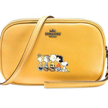 NEW Coach X Peanuts and The Gang Crossbody Yellow Gold, Snoopy Charlie Brown