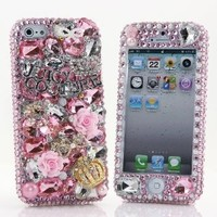 BlingAngels® 3D Luxury Bling iphone 5 5s Case Cover Faceplate Swarovski Crystals Diamond Sparkle bedazzled jeweled Design Front & Back Snap-on Hard Case (100% Handcrafted by BlingAngels) (Light Pink Juicy Crown Design)