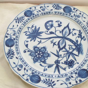 Blue Delft Plate in Porcelain , Onions Khala Germany Plate 10 inches round