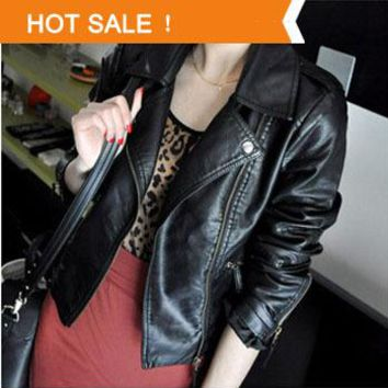 2016 new leather jacket women hot water pu leather motorcycle leather oblique zipper short coat handsome leather