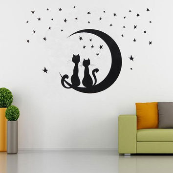 Diy Removable Star Cat Wall Sticker Art Decoration Decal Mural Home Room Decor 1929773060