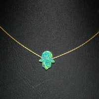 Green Opal HAMSA Fatima Hand Symbol Charm Pendant with 14kt Gold Filled Fine 0.6mm Chain NECKLACE. Free Shipping Worldwide.