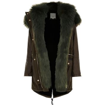 Petite khaki green faux fur trim parka - Jackets - Coats & Jackets - women