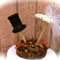 Rustic wedding cake topper fall country pine cone forest weddings