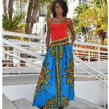 KOKO Womens  Dashiki Print Maxi Skirt