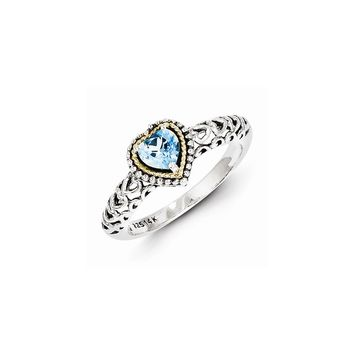 Antique Style Sterling Silver with 14k Gold Blue Topaz Ring
