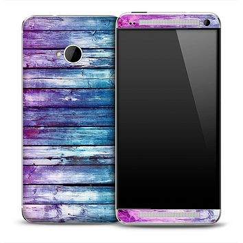 Pink and Blue Dyed Wood Skin for the HTC One Phone
