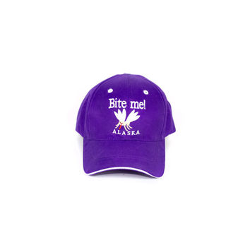BITE ME ALASKA mosquito hat / deadstock / purple baseball cap / snap back / trucker / funny / weird / embroidered / insect / bug
