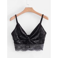 Lace Hem Velvet Crop Cami Top