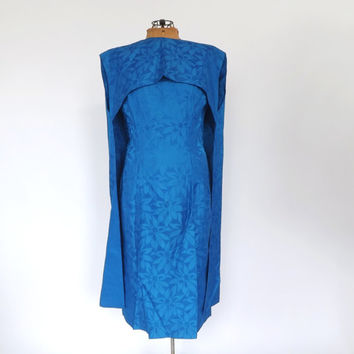 Vintage 1960s Cape Dress Cobalt Blue Brocade Dress Floral Damask Sheath Cocktail Dress with Cloak Prom Party Dress Mad Men 60s Tea Dress